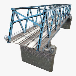 3D model old railway bridge rails