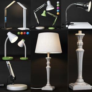 3D model set 5 table lamps
