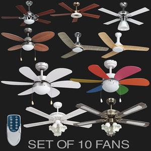 set 10 fans 3D model
