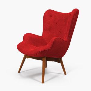 red velvet lounge chair 3D