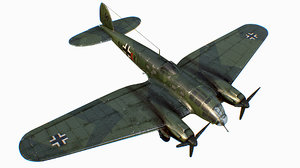 german medium bomber heinkel 111 3D model