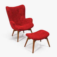 Grant Featherston Contour Style Wing Chair Velvet 3D Model