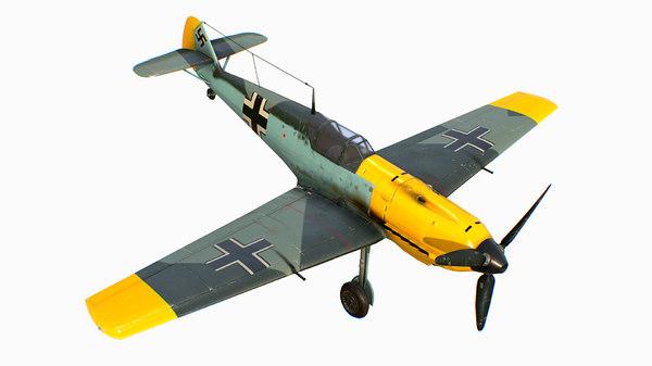 3D german fighter aircraft messerschmitt