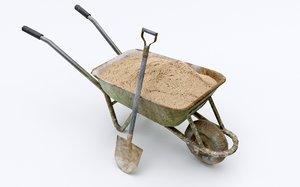 3D wheel barrow wheelbarrow model