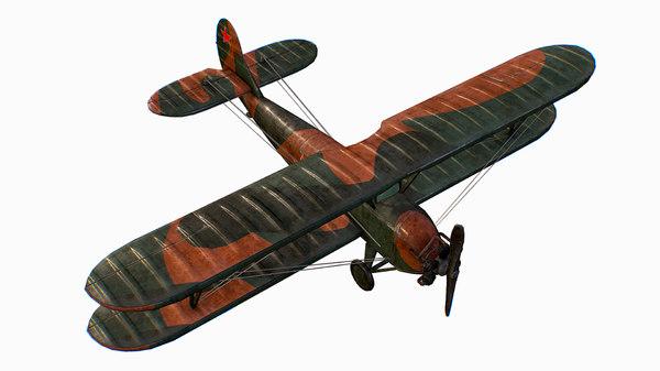 russian soviet biplane polikarpov po-2 3D model