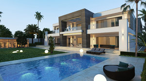 private villa building exterior 3D model