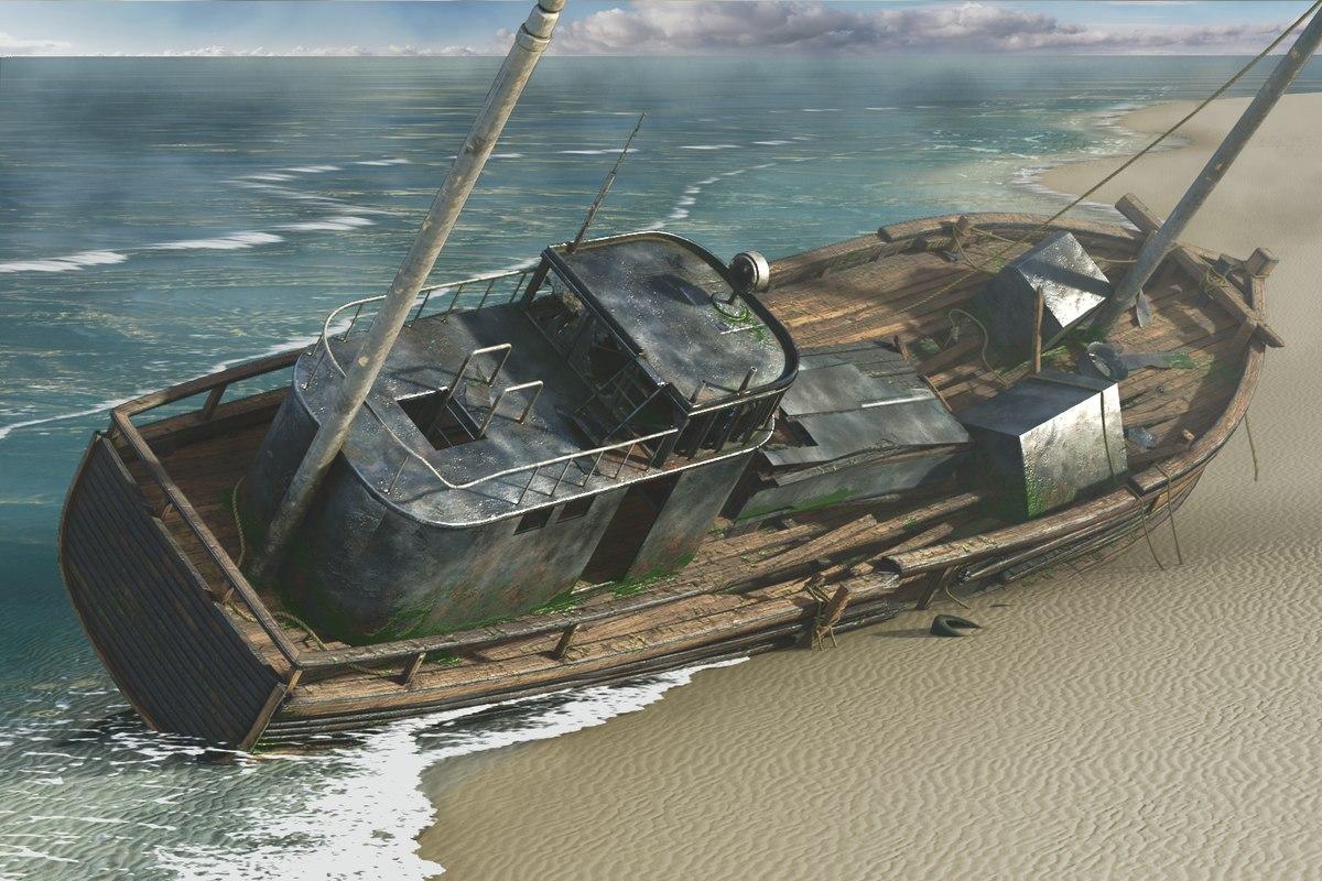3D model shipwreck beach ship