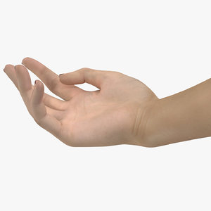caucasian female hand short 3D model