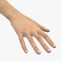 3D caucasian female hand short model