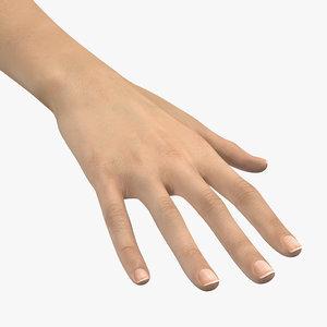 3D caucasian female hand short model