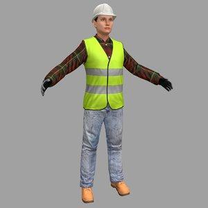 female worker 3D model