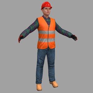 3D female worker model