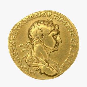 3D model roman coin gold