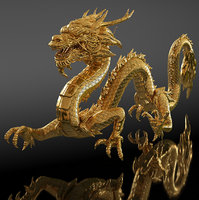 Golden Chinese Dragon Rigged for Cinama 4D