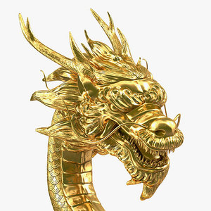 3D golden chinese dragon rigged
