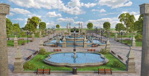 fountain garden park 3D