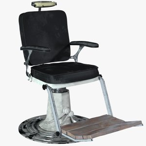 3D rigged barber chair model