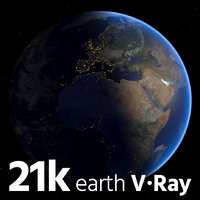 3D earth realistic blue model