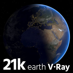 3D earth realistic blue model
