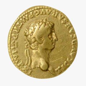 3D gold roman coin