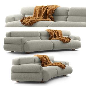 jardan valley sofa curved 3D model
