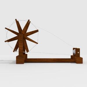 3D spinning wheel mahatma gandhi