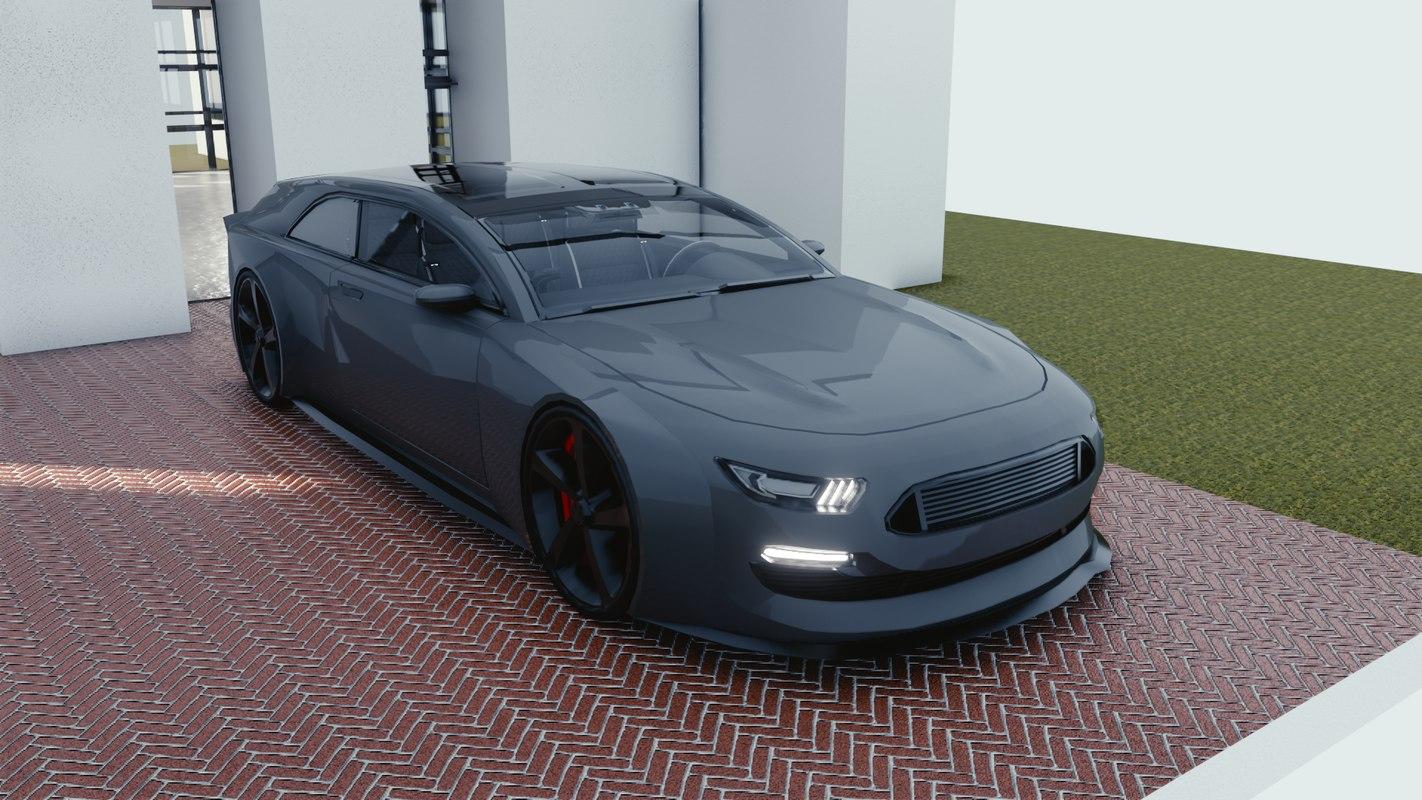 3D model car blender eevee 2