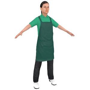female grocery worker 3D model