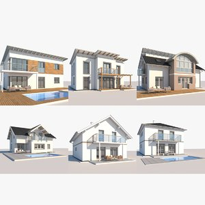 3D model contemporary houses