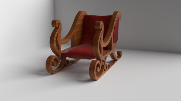 sleigh wood 3D