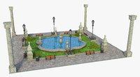 garden fountain fount model