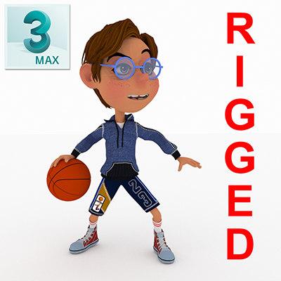 toon boy basketball character 3D model