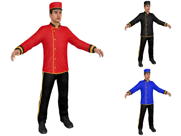 3D waiter person people