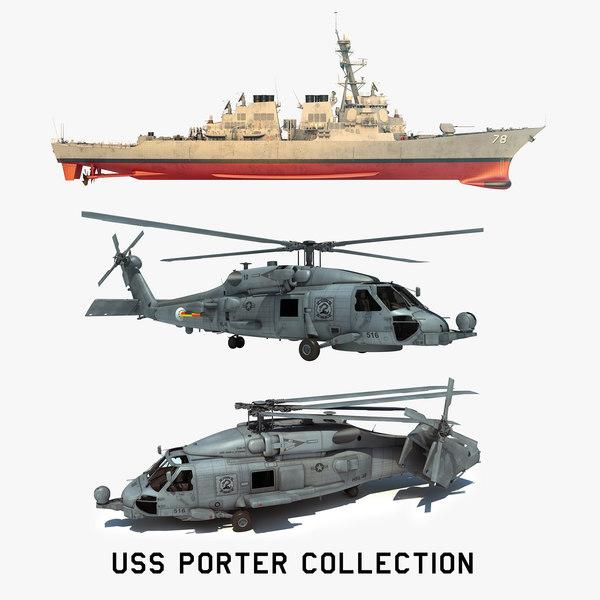 2 uss porter ddg 3D model