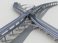Highway Viaduct flyover 3D model-2 3D model