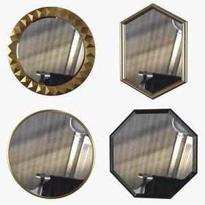 3D mirrors set 4 items