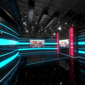 virtual set studio 3D model