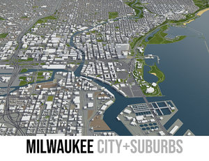 3D model city milwaukee surrounding area