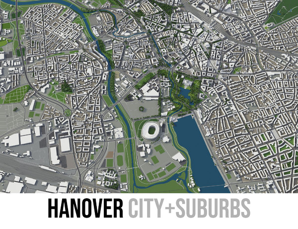 3D city hanover surrounding area model