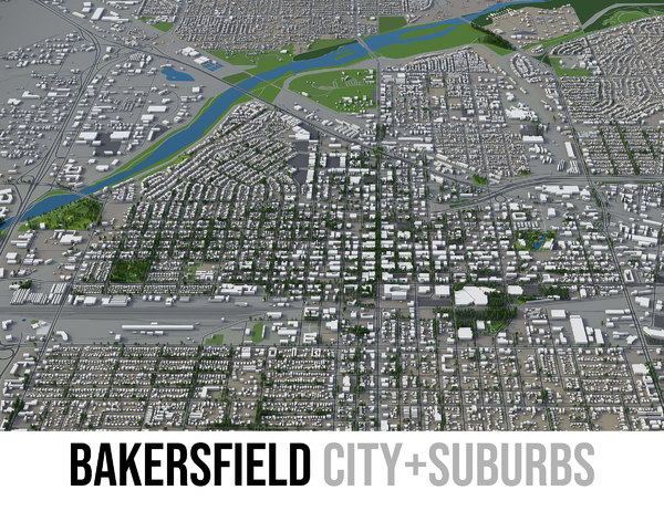 3D city bakersfield surrounding area