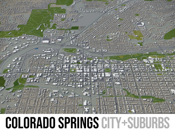 3D model city colorado springs surrounding