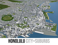 city honolulu - 3D model