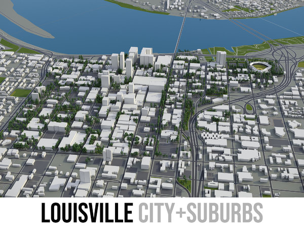 city louisville surrounding area 3D model