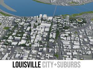 city louisville surrounding area 3D model