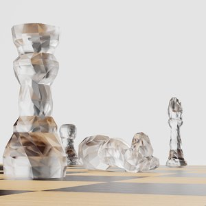 chess set glass 3D model
