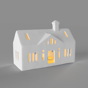 white ranch house candle 3D