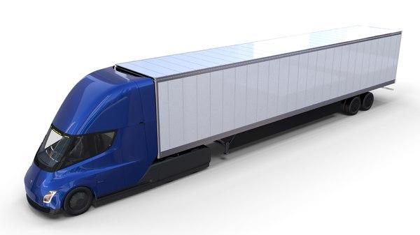 tesla semi truck interior 3D