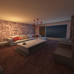 3D model visuals living elegant room