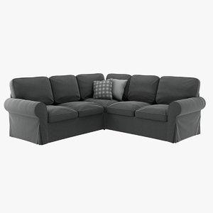 realistic ikea ektorp corner sofa 3D