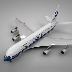 3D model airbus a380 varig l118